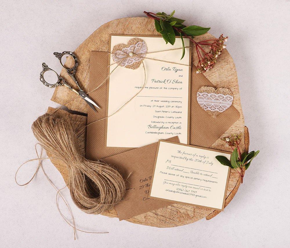 Burlap Heart and Twine Wedding Invitation