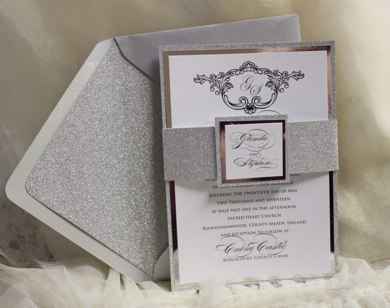 Silver Glitter Mirror Invitation with Glitter Envelope