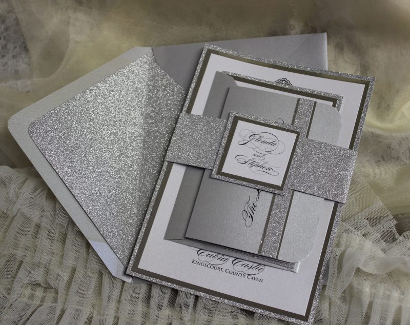 Silver Glitter Mirror Wedding Invitation Set