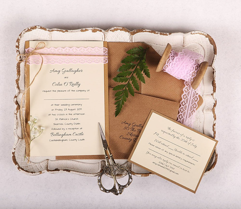 Wedding Invitation with Pink Lace and Twine