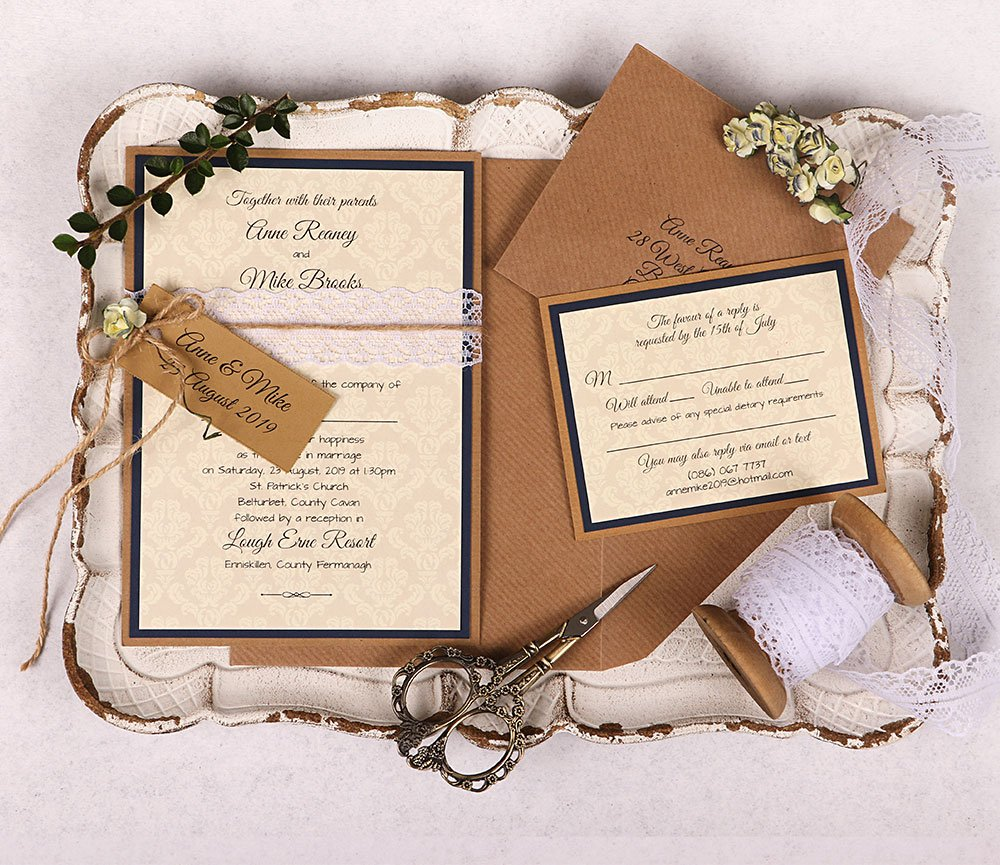 Anne Wedding Invitation Kit Navy