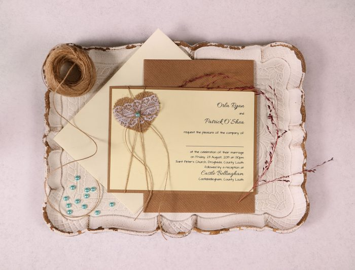 Landscape Wedding Invitation with Burlap Lace Heart and Blue Pearl