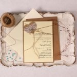 Wedding Invitation with Burlap Lace Heart and Blue Pearl