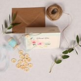 Spring Breeze thank you card with light blue organza