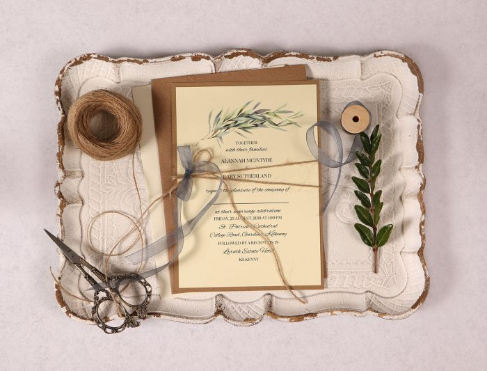 Wedding Invitation with Eucalyptus Leaves