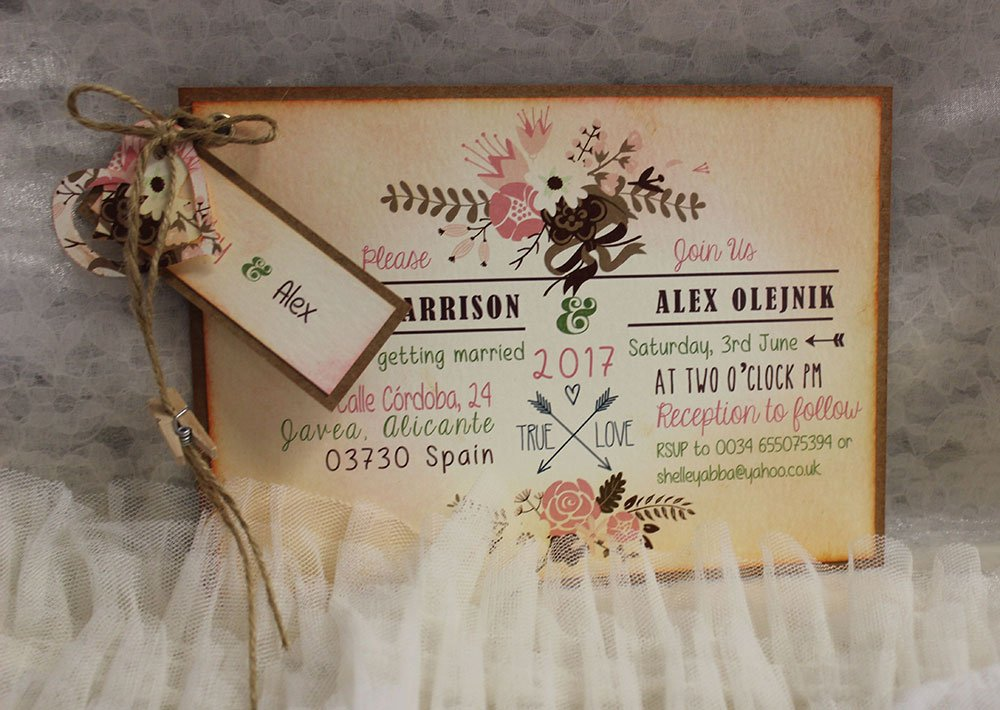 Floral Pink Tones Wedding Invitation