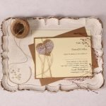 Landscape Wedding Invitation with Burlap Lace Heart & Ivory Pearl