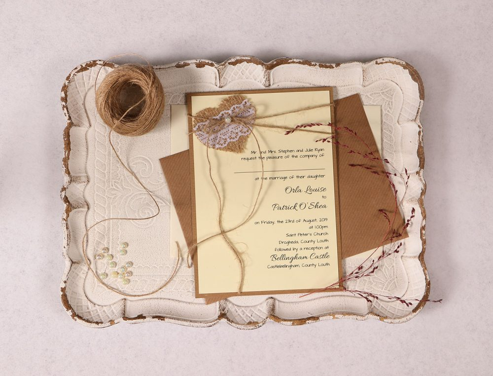 Wedding Invitation with Burlap Lace Heart and Ivory Pearl