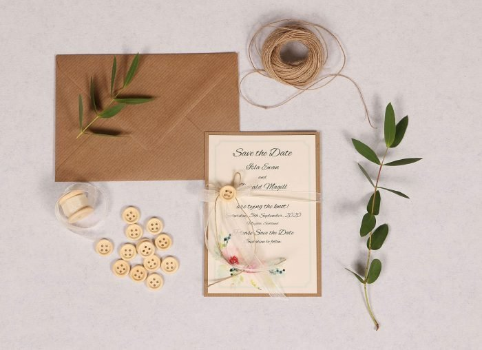 Spring Breeze Save the Date with Ivory Organza Ribbon