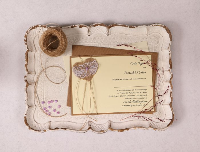 Landscape Wedding Invitation with Burlap Lace Heart and Lavender Pearl