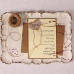 Wedding Invitation with Burlap Lace Heart and Lavender Pearl