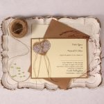 Landscape Wedding Invitation with Burlap Lace Heart and Green Pearl
