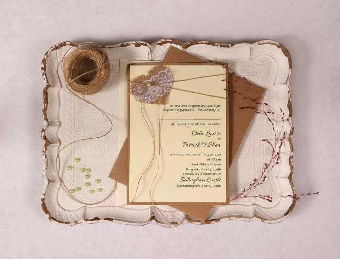 Wedding Invitation with Burlap Lace Heart and Green Pearl