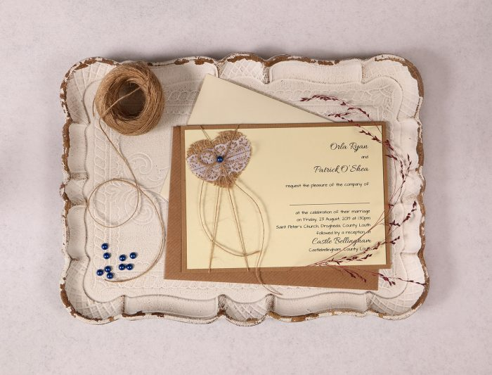 Landscape Wedding Invitation with Burlap Lace Heart and Dark Blue Pearl