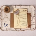 Wedding Invitation with Burlap Lace Heart and Dark Blue Pearl