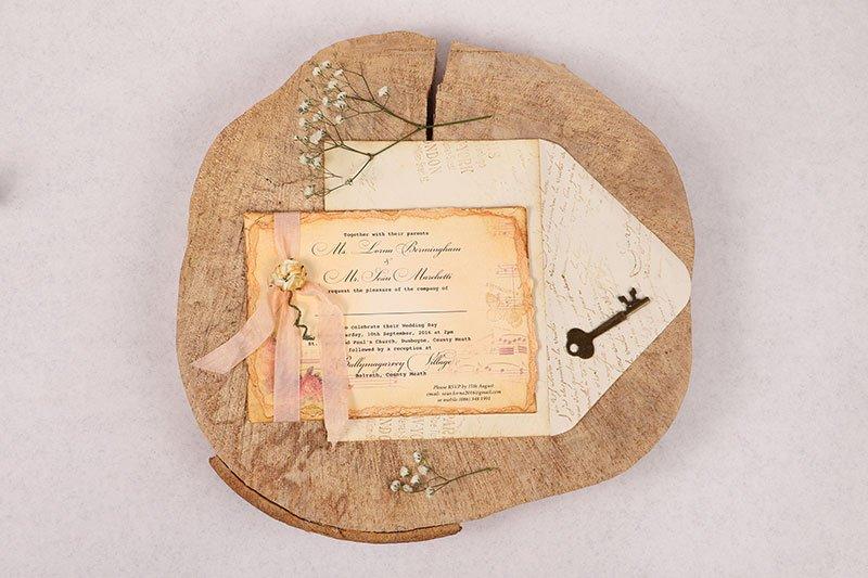 Peach invitation with envelope