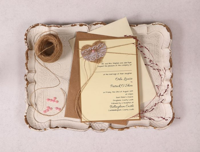 Wedding Invitation with Burlap Lace Heart and Pink Pearl