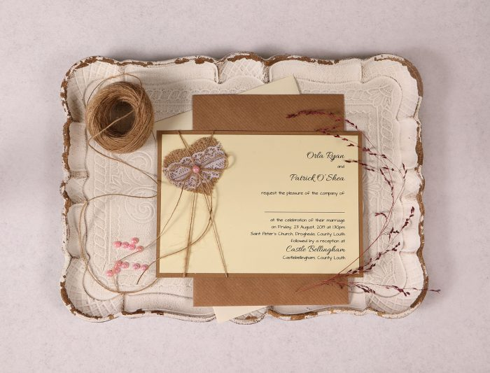 Landscape Wedding Invitation with Burlap Lace Heart & Pink Pearl