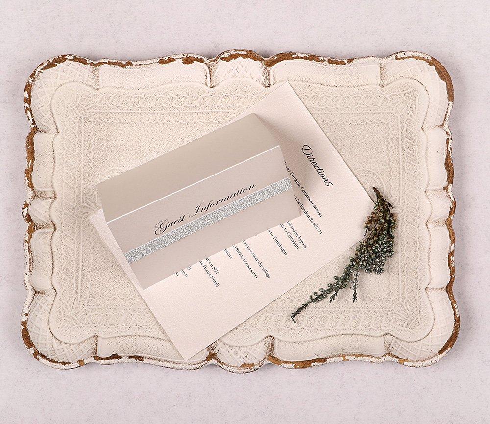Silver Glitter guest info card