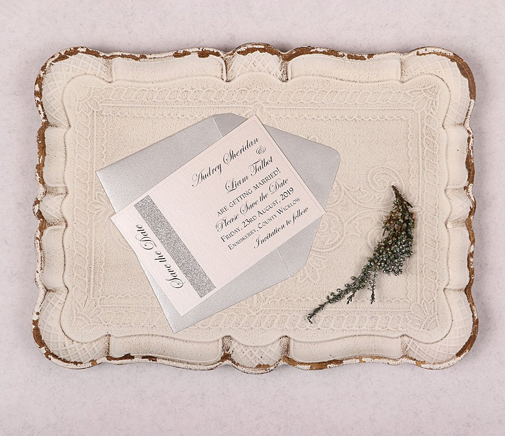 Silver Glitter Save the Date Card