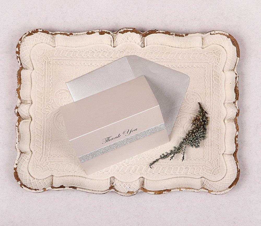Silver Glitter Thank You Card