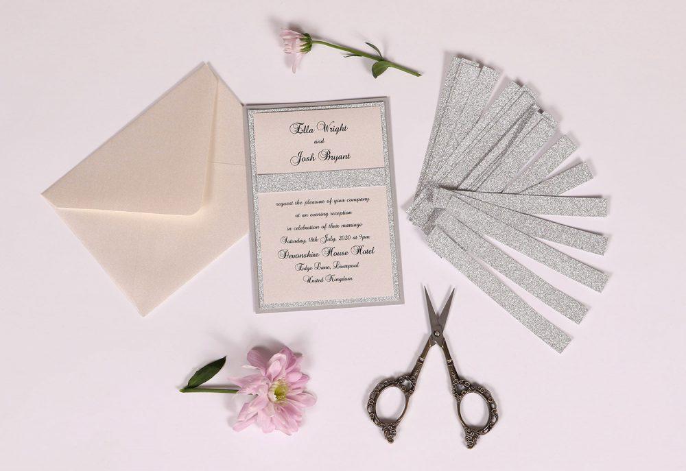 Silver Glitter Evening Invitation