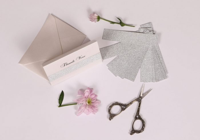 Silver Glitter Thank You Card