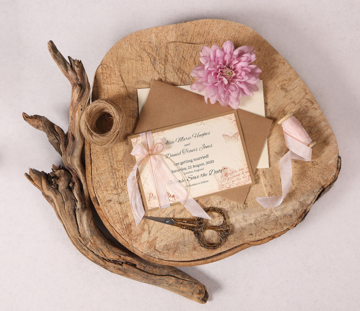 Vintage Save the Date Card with Pink Ribbon
