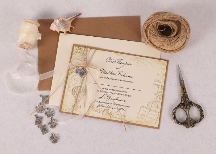 Vintage Destination Invitation Ivory
