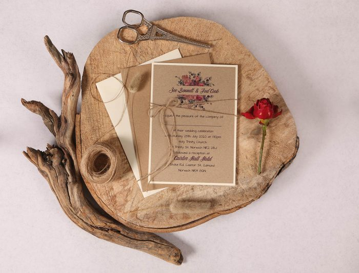 Rustic Floral Kraft Wedding Invitation