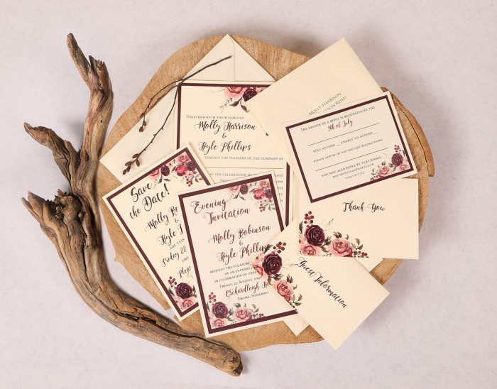 Plum Rose Invitation