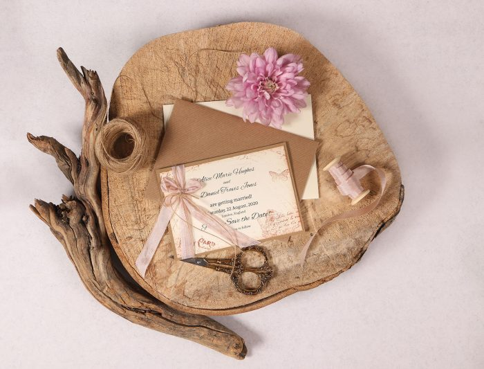 Vintage Save the Date with Rose Beige Ribbon