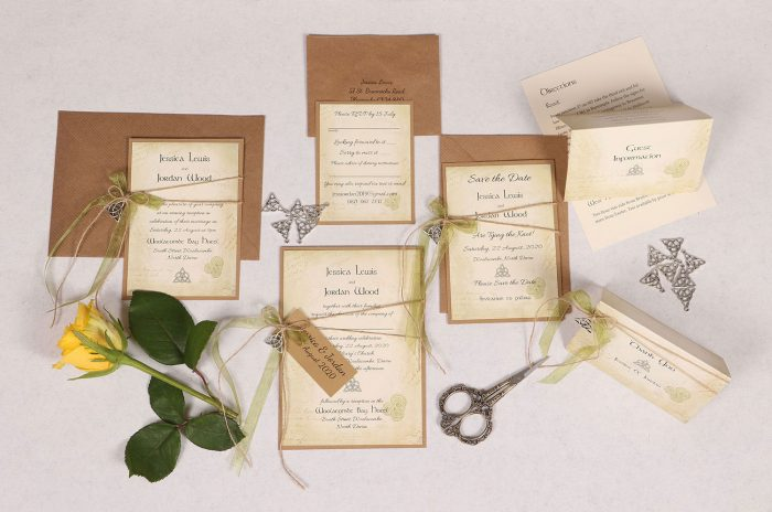 Celtic Charm Wedding Invitation Suite with Green Ribbon