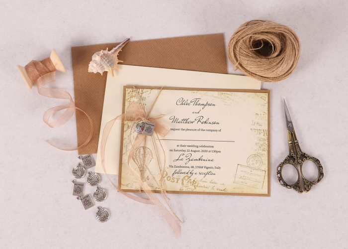 Vintage Destination Themed Wedding Invitation
