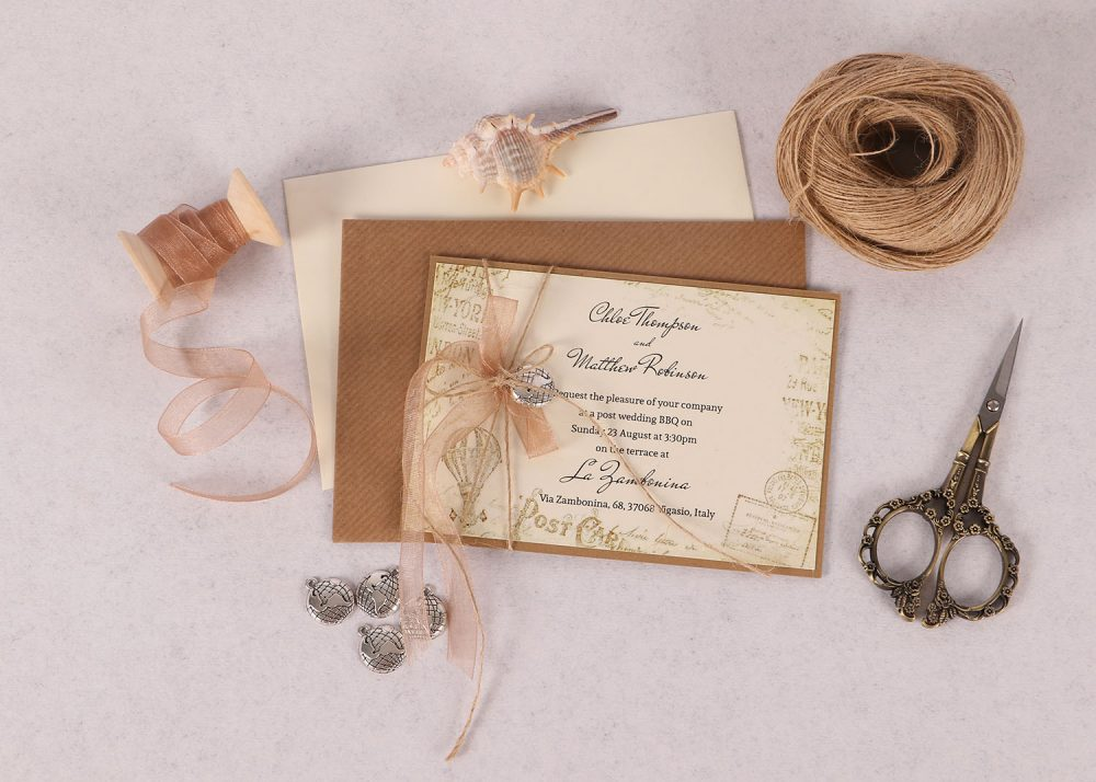 Vintage Destination Evening Invitation Copper