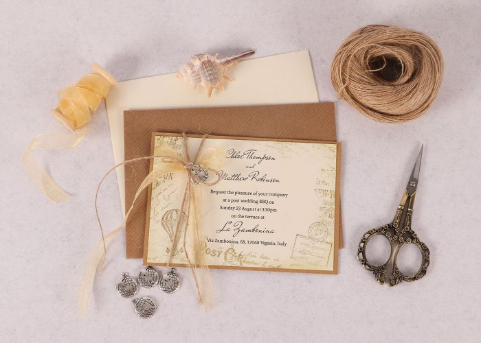 Vintage Destination Evening Invite Gold