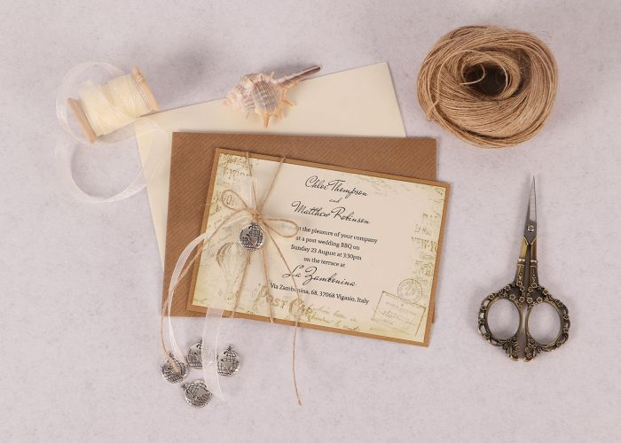 Vintage Destination Ivory Evening Invite