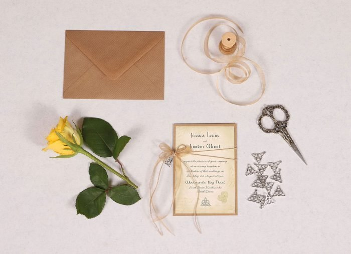 Celtic Charm Evening Invitation with Copper Ribbon
