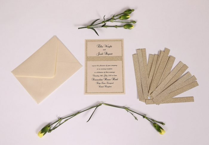 Ivory and Gold Glitter Evening Invitation