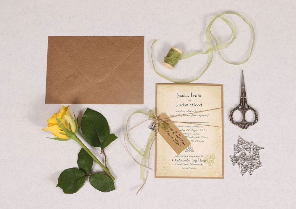 Celtic Charm Wedding Invitation with Green Ribbon