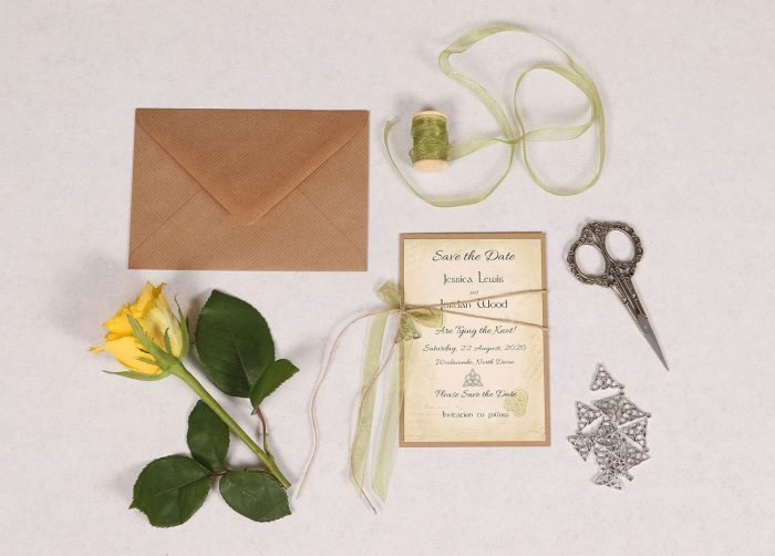 Celtic Charm Save the Date Card with Green Ribbon