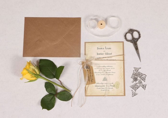 Celtic Charm Wedding Invitation with Ivory Ribbon