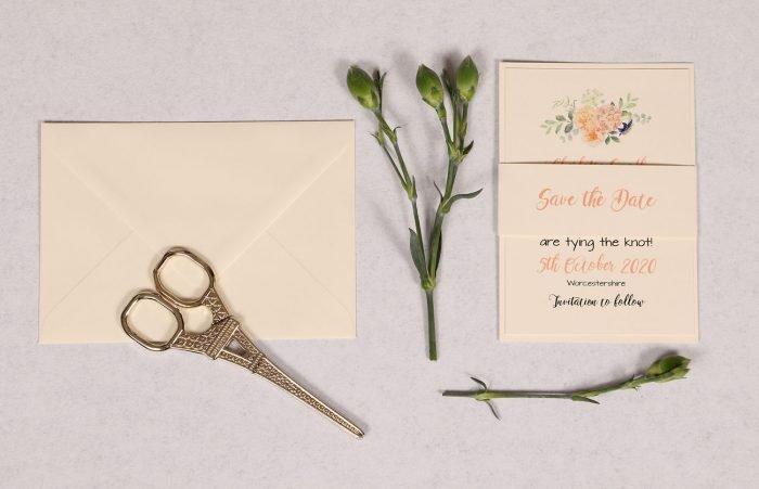 Save the Date Card with Peonies