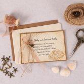 Nautical Evening Invitation with Copper Ribbon & Charm