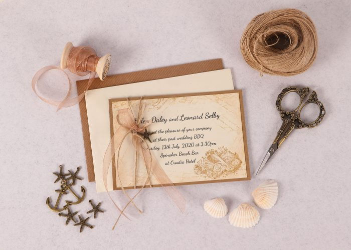 Nautical Evening Invitation with Copper Ribbon & Charm