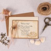Nautical Save the Date Card with Copper Ribbon & Charm