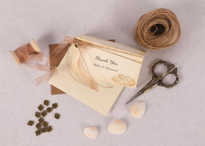 Nautical Thank You Card with Copper Ribbon & Charm
