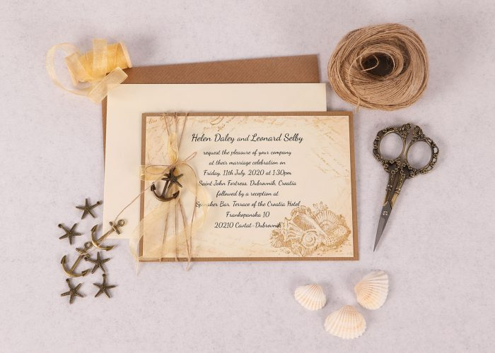 Vintage Sea Invitation with Gold Organza Ribbon
