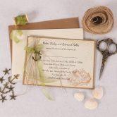 Nautical Wedding Invitation with Green Ribbon & Charm