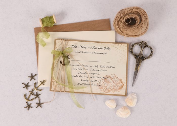 Nautical Wedding Invitation with Green Ribbon & Charm